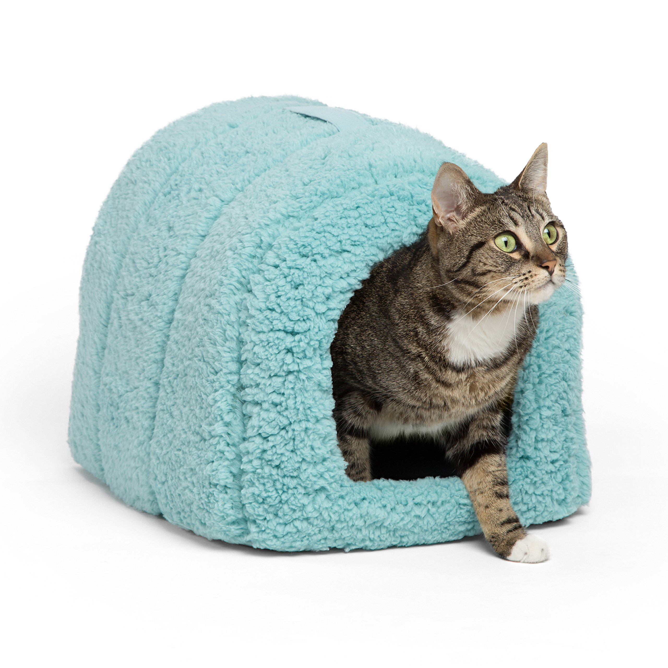 Best Friends by Sheri Pet Igloo Hut, Sherpa, Teal - Cat and Small Dog Bed Offers Privacy and Warmth for Better Sleep - 17x13x12'' - For Pets 9lbs or Less