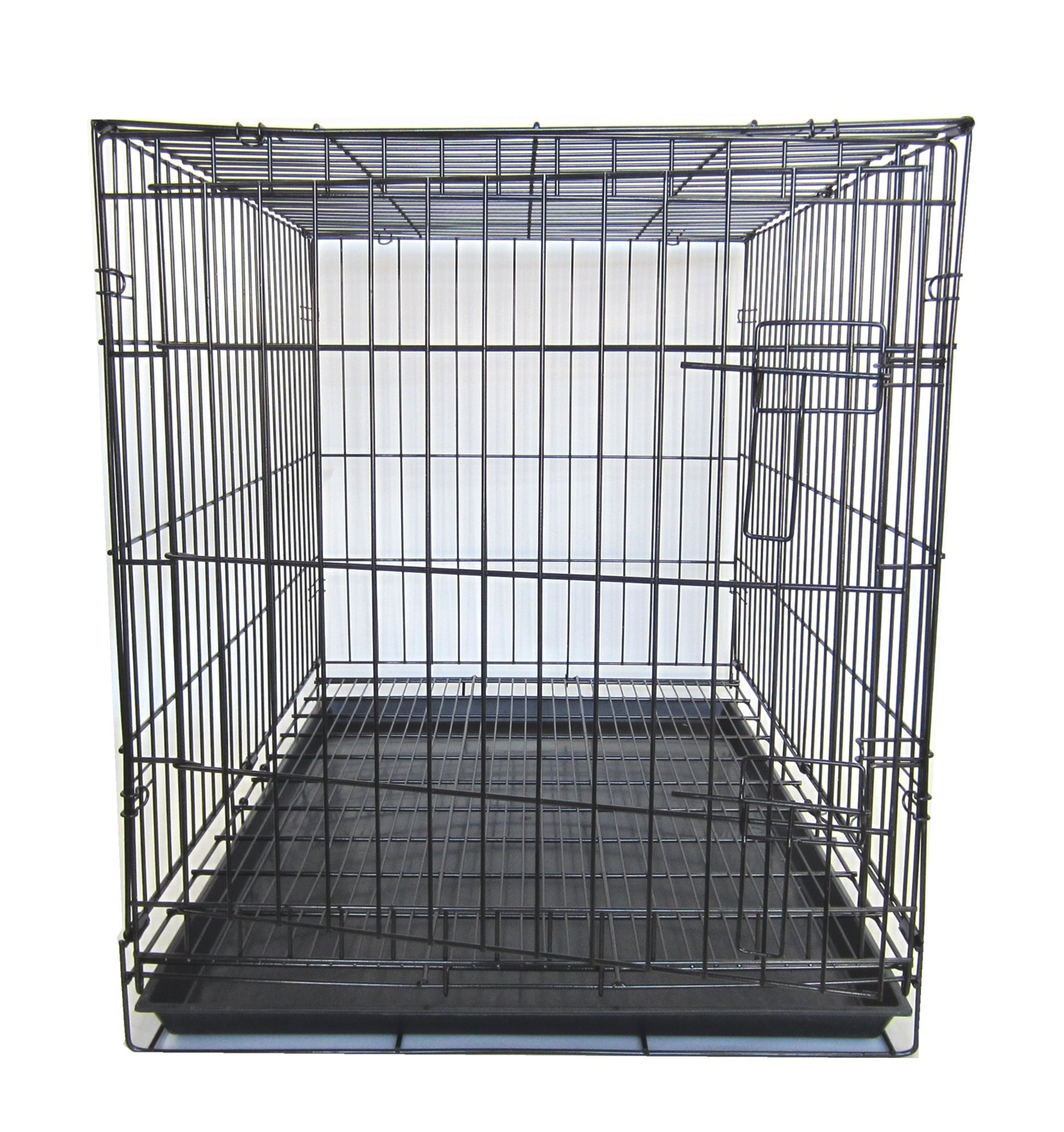 YML 36-Inch Dog Kennel Cage with Wire Bottom Grate and Plastic Tray, Black