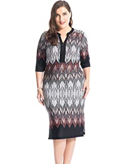0bda9b56a7a Chicwe Women s Plus Size Printed Zipped V Neck Border Dress - Knee Length  Casual and Work
