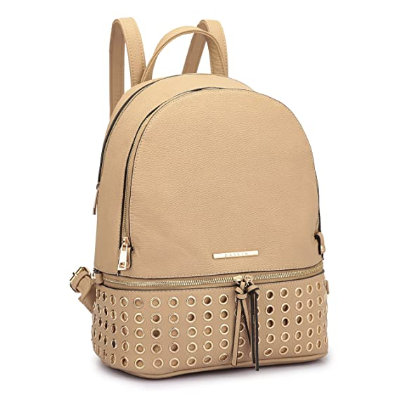 Backpacks Mochila con Tachuelas Redondas de imitación de Cuero para Mujer 7205- Beige: Amazon.es: Zapatos y complementos