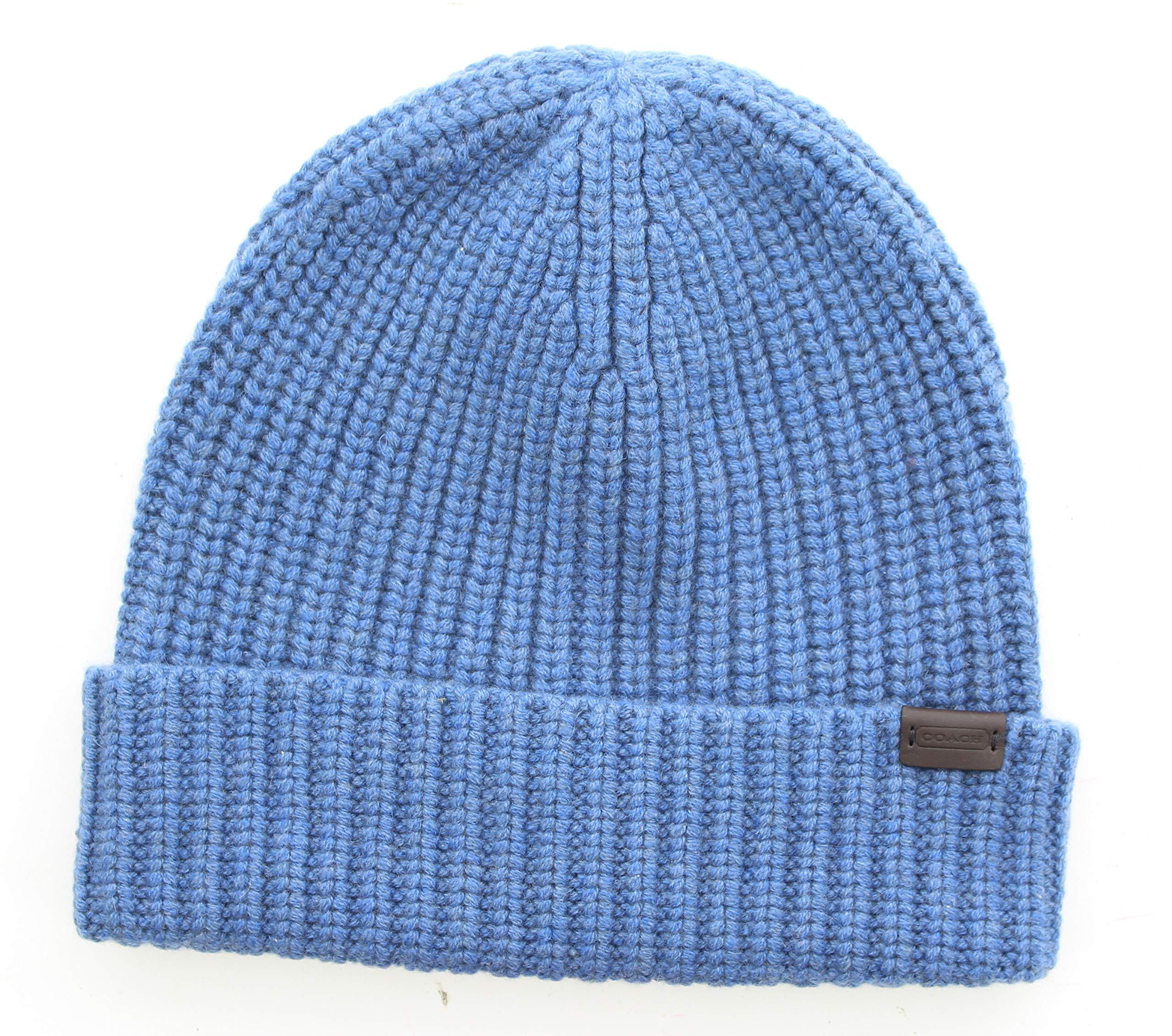 Coach 83148 Solid Rib Knit Cashmere Beanie Cap Winter Hat (Blue)
