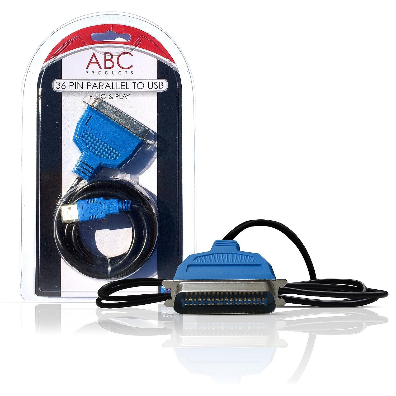 ABC Products IEEE1284 - Adaptador de cable USB y puerto paralelo para impresoras Brother, Canon, Epson, Stylus, Lexmark y HP Hewlett Packard (con 36 ...