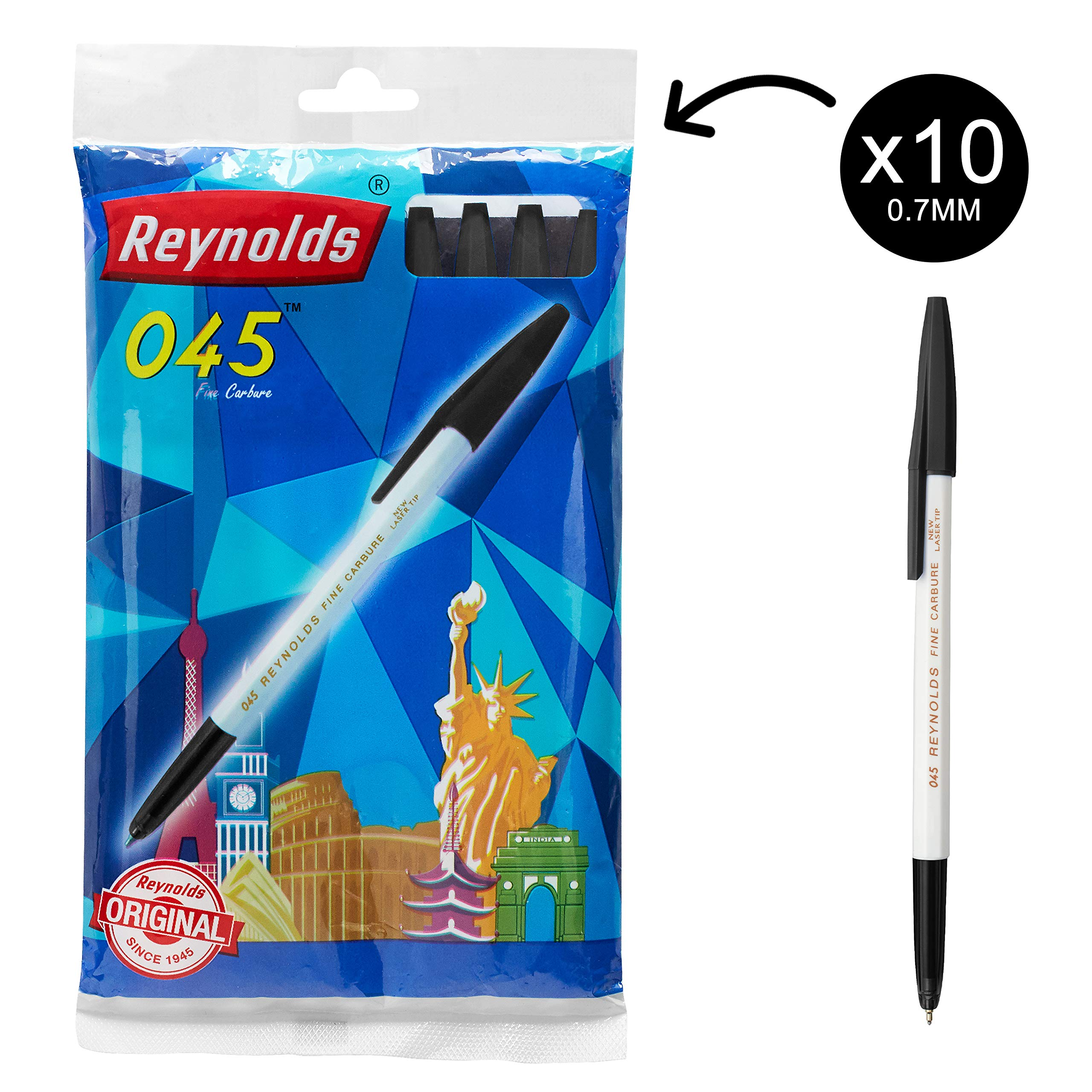 Reynolds 045 FINE CARBURE Ball Point Pens  Blue Ink  10 Ball Point Pens