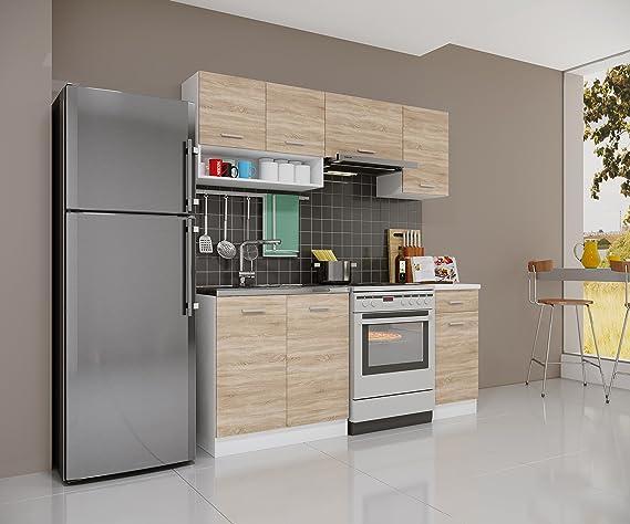 Módulo de cocina empotrable Gemini de Sonoma, de roble, 180 cm: Amazon.es: Hogar