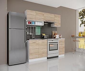 Modulküchen amazon de küchenzeile gemini sonoma eiche 180cm modulküche einbau