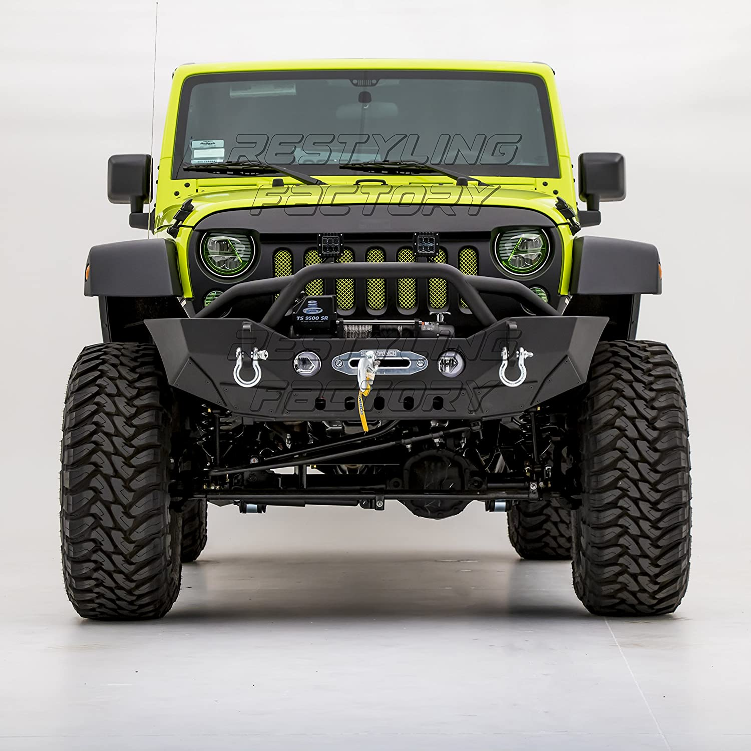 Restyling Factory Rock Crawler Front Bumper With Fog Jeep Wrangler Parts Lights Hole Built In Winch Plate Black Textured For 07 18 Jk Automotive