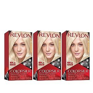 Revlon Colorsilk Beautiful Color, Permanent Hair Dye with Keratin, 100% Gray Coverage, Ammonia Free, 05 Ultra Light Ash Blonde (Pack of 3)