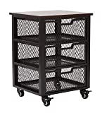 Office Star Garret 3 Drawer Metal Rolling Cart with Espresso Wood Top, Black
