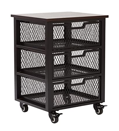 Ordinaire OSP Designs Office Star Garret 3 Drawer Metal Rolling Cart With Espresso  Wood Top, Black
