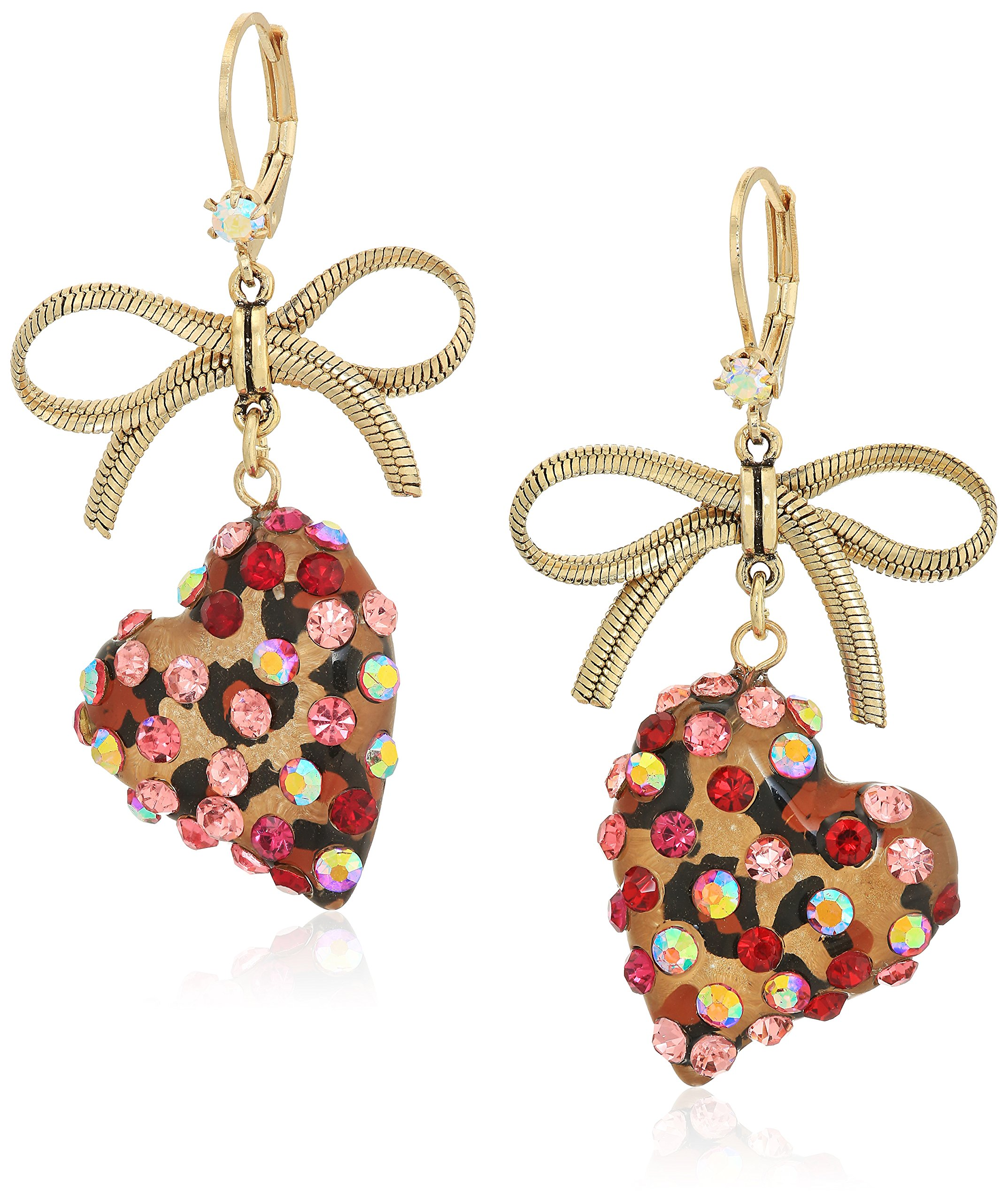 Betsey Johnson Roses Gold and Pink Bow and Heart Drop Earrings