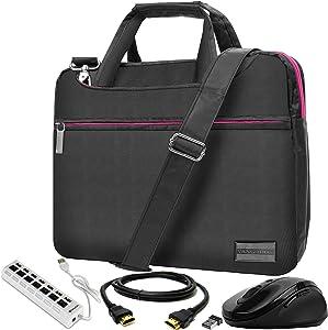 Pink 13.3 inch Laptop Messenger Bag, Mouse, USB Hub, HDMI Cable for Asus ChromeBook, Flip, NovaGo, VivoBook, ZenBook