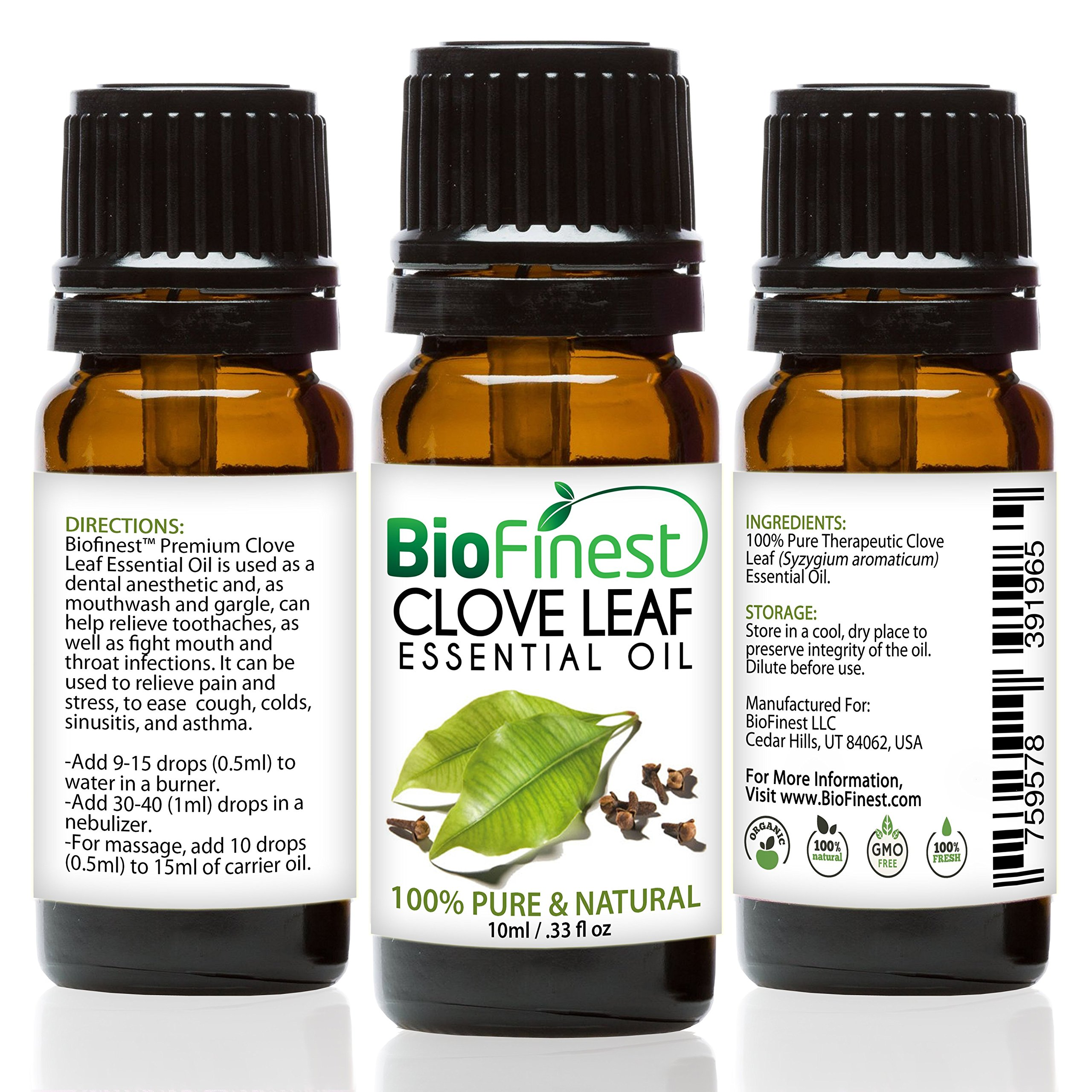BioFinest Clove Leaf Oil - 100% Pure Clove Essential Oil - Premium Organic - Therapeutic Grade - Best For Tooth Aches - Anti-Bacteria - Natural Skin Care - FREE Essential Oil Guide (10ml)