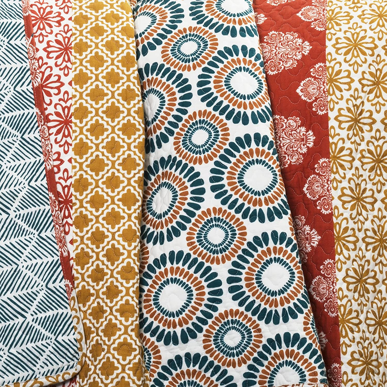 Lush Decor Bohemian Striped Quilt Reversible 3 Piece Colorful Boho Design Bedding Set Full Queen Turquoise