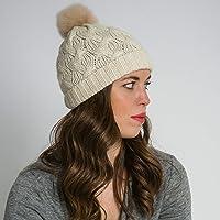 Surhilo Nazca Alpaca Knit Fur Pom Pom Beanie - Cream - Winter Luxury Cap for Women, Men & Kids