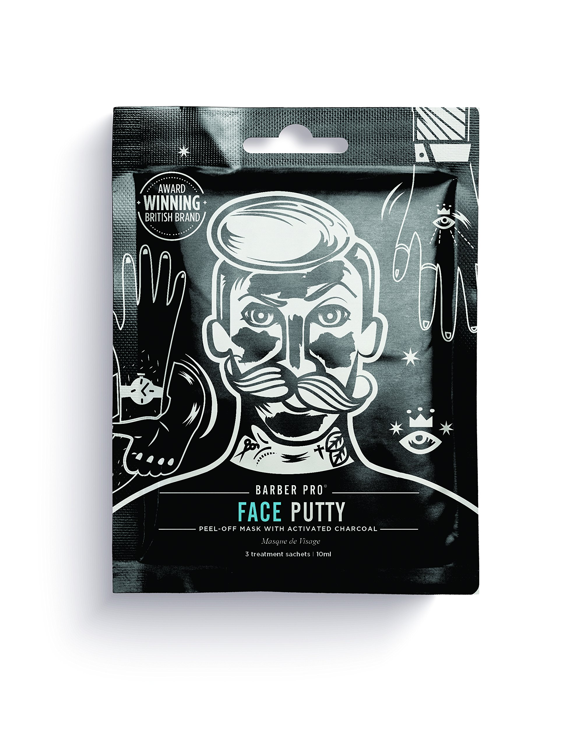 BARBER PRO FACE PUTTY black peel-off mask with activated charcoal