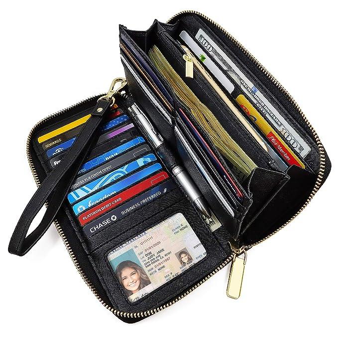 c3f8f4cb9ae Cartera para Mujer Bloqueo RFID con Cierre – Billetera para Dama con  Muñequera – Bolsillo para