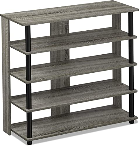 FURINNO Turn-N-Tube 5 Tier Wide Shoe Rack, 31.3 W, French Oak Grey Black