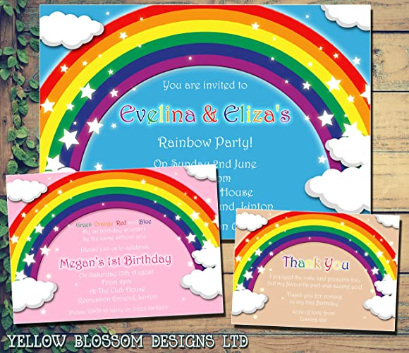 Personalised Childrens Birthday Invitations Printed Invites Boy Girl Joint Party Twins Unisex Rainbow 1st 2nd