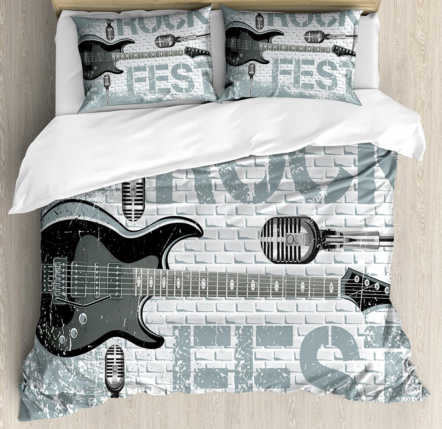 Ambesonne Rock Music Duvet Cover Set, Grunge Color Splashed Brick Wall Background Electronic Guitar Mics Design, Decorative 3 Piece Bedding Set with 2 Pillow Shams, Queen Size, Blue Grey
