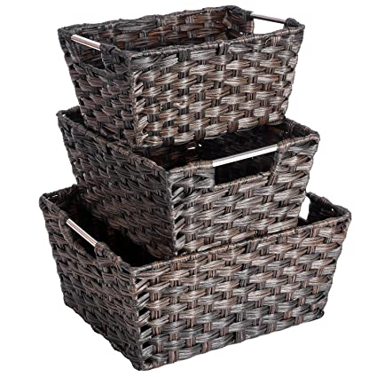 Amazon Com Maidmax Nesting Rattan Storage Baskets With Dual Metal