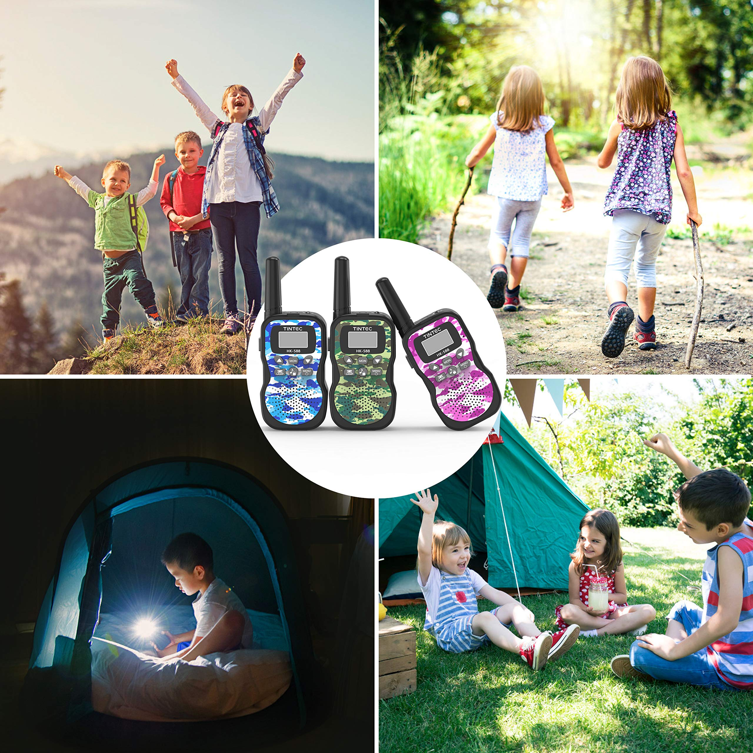 Tintec Walkie Talkies 3 Pack, Upgraded Version Camouflage Exterior 22 Channels 2 Way Radio Toy with Backlit LCD Flashlight, 3 Miles Range for Kids, Outdoor Adventures, Camping, Hiking by Tintec (Image #7)