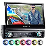 """XOMAX XM-VRSUN740BT Radio de coche / Autoradio 1DIN con Navegación GPS con Mapas de Europa (38 países) + Bluetooth Manos libres + 7 """"/ 18 cm pantalla táctil HD de resolución (800 x 480 píxeles) + 7 colores de iluminación ajustable + sin discos CD + puerto USB y SD (hasta 128 GB!) + MPEG4, MP3, WMA, AVI, DivX + Conexiones para subwoofer, cámara de vista trasera y el control a distancia del volante"""