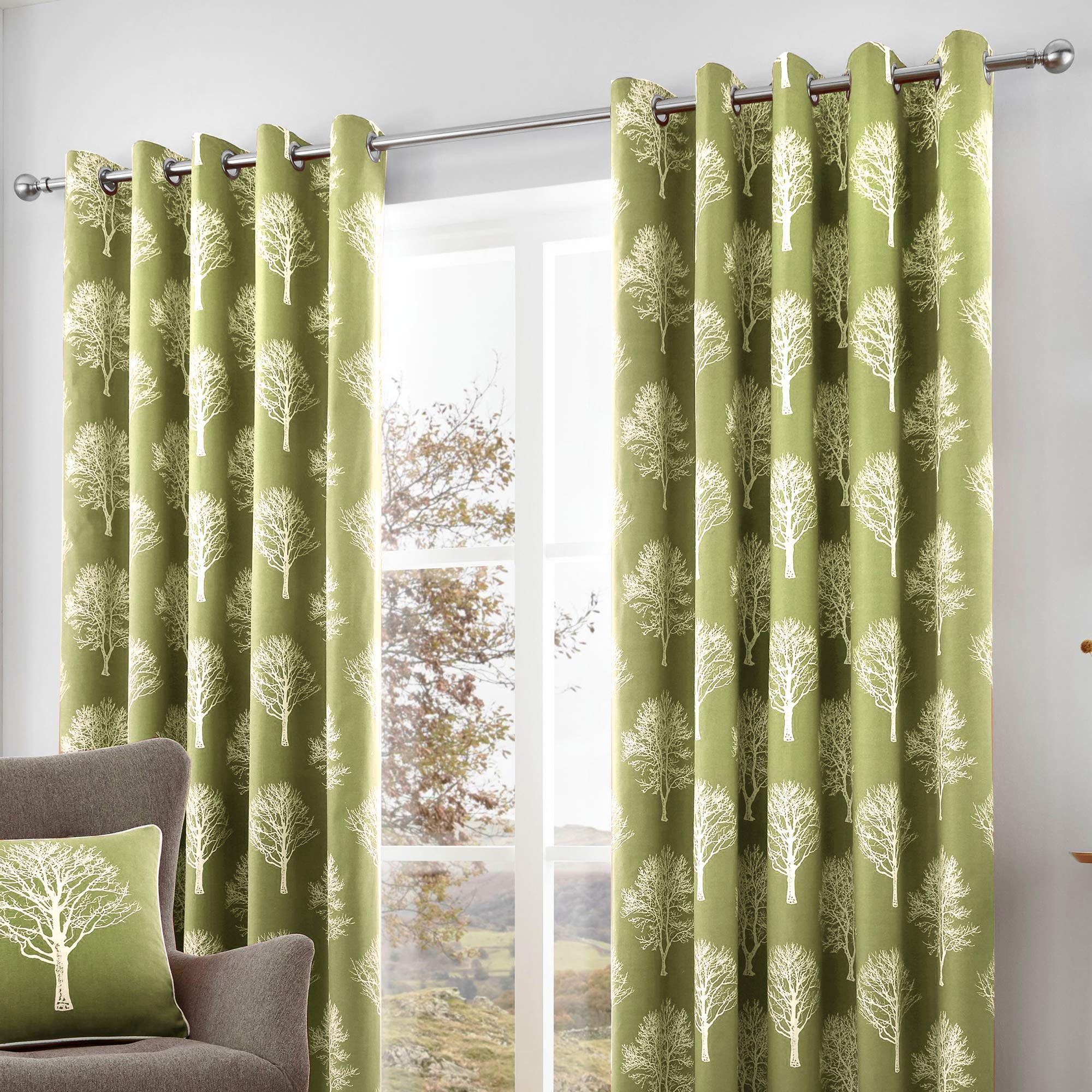 Pair Of Green Curtains Amazoncouk
