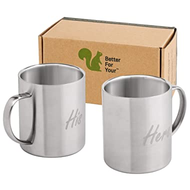 His & Hers Coffee Mugs Stainless Steel Double Wall - Set of 2 Mugs - Freestyle Font