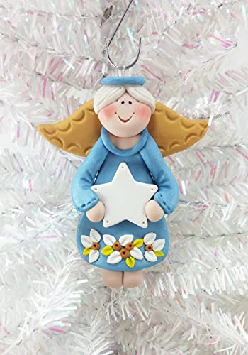 handmade personalized boy angel christmas ornament polymer clay - Handmade Angels Christmas Decorations