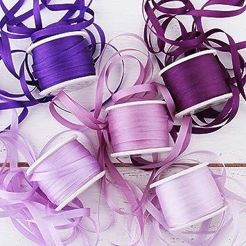 Threadart 4mm Silk Ribbon Set -Purple Shades - Five Spool Collection - 100% Pure Silk Ribbon - 10m (11yd) Spools - 55 Yards of Ribbon