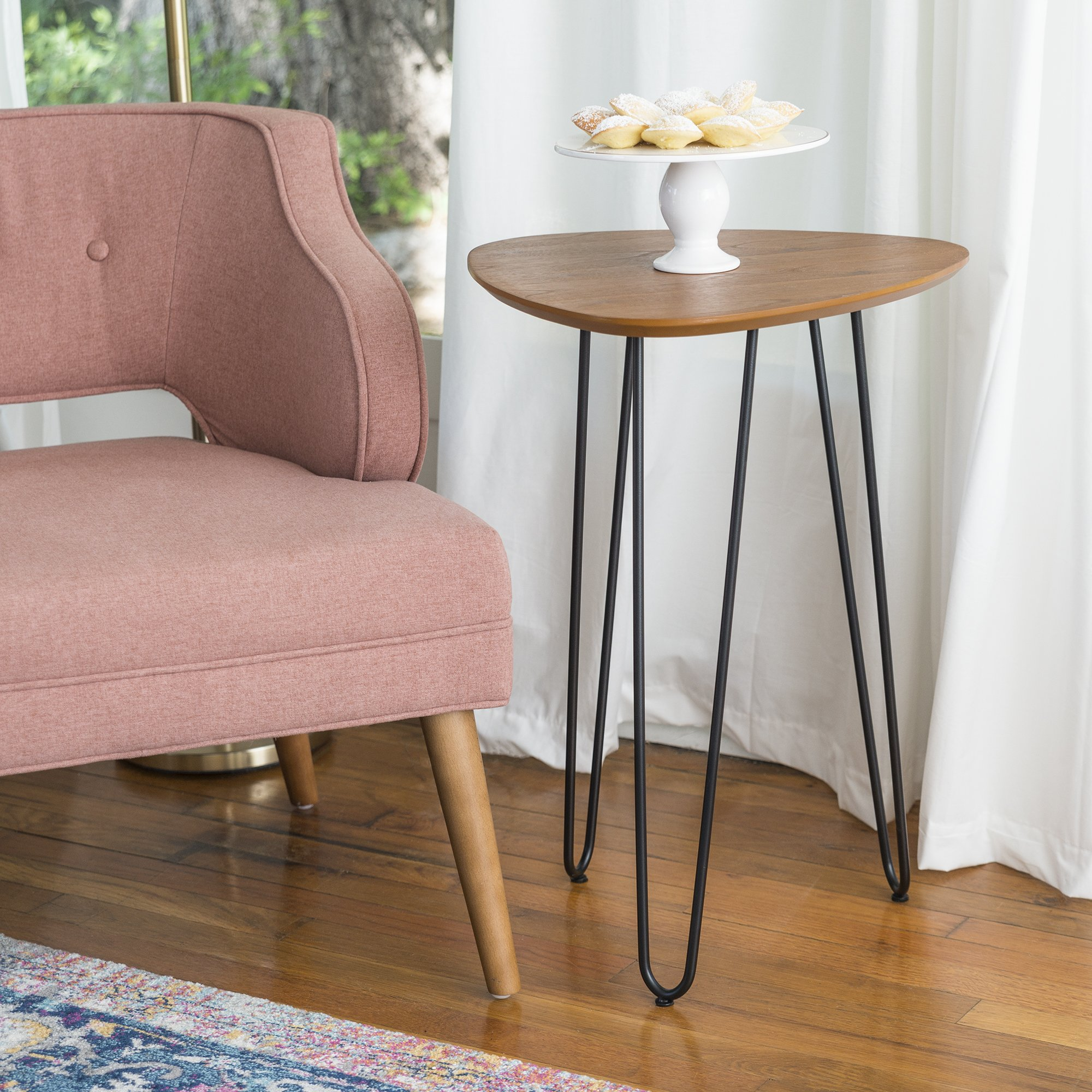 WE Furniture 18'' Hairpin Leg Wood Side Table - Walnut
