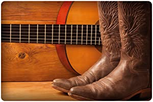 Lunarable Western Pet Mat for Food and Water, American Country Music Theme Guitar Instrument and Cowboy Shoes on Wood Image, Rectangle Non-Slip Rubber Mat for Dogs and Cats, Brown Orange