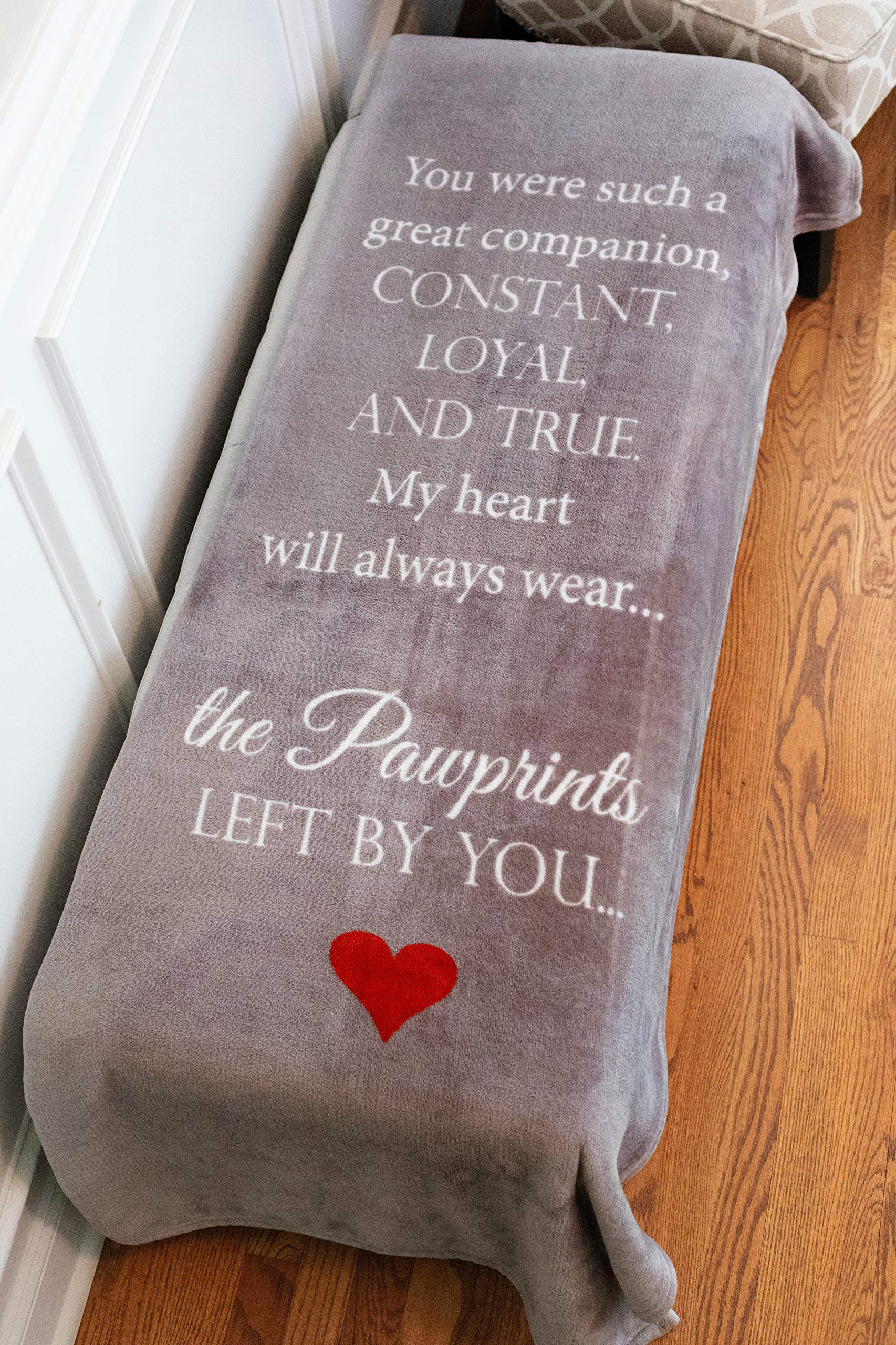 Pawprints Left by You Pet Memorial Blanket with Heartfelt Sentiment - Comforting Pet Loss/Pet Bereavement Gift (Non Personalized) 3
