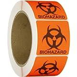 Roll Products 142-0011 Round Cornered Permanent Adhesive Biohazard Warning Label with Black Imprint, Legend 'Biohazard…