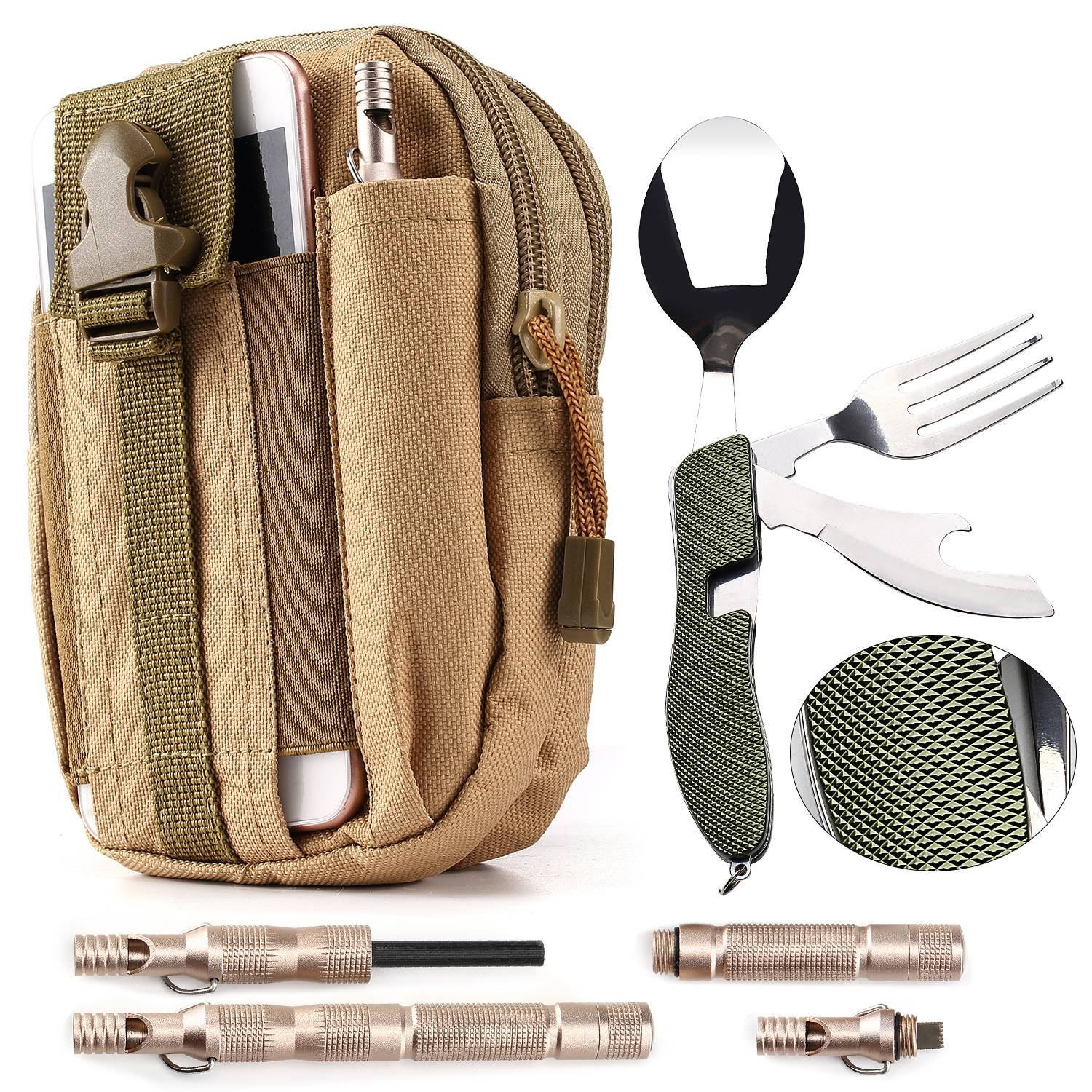 Camping / Survival Kit - Military Canvas Pouch with Phone Slot (1) + Folding Utensils (1) + Emergency Magnesium Survival Fire Starter Flint (1)