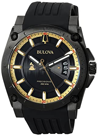 e4b1bf8fc Amazon.com: Bulova Men's Grammy Watch Stainless Steel Analog-Quartz  Silicone Strap, Black, 24 (Model: 98B294): Watches