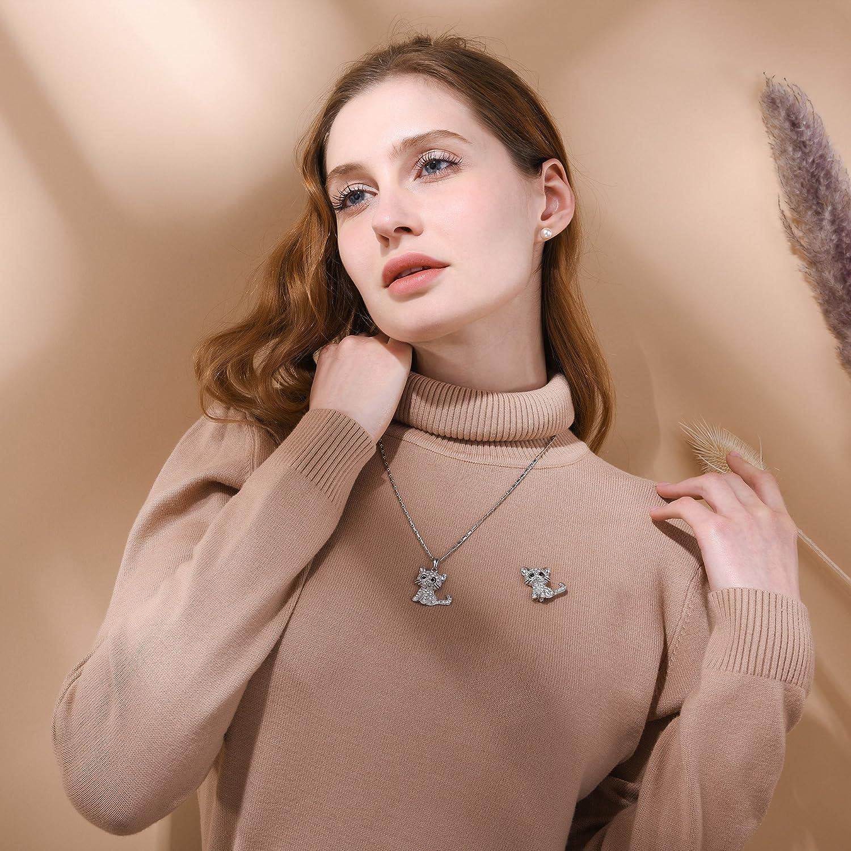 U7 Broche Femme Fantaisie Bijoux de V/êtement Chaton Plaqu/é Or avec Ornement de Pierre du Rhin 2 Couleurs au Choix