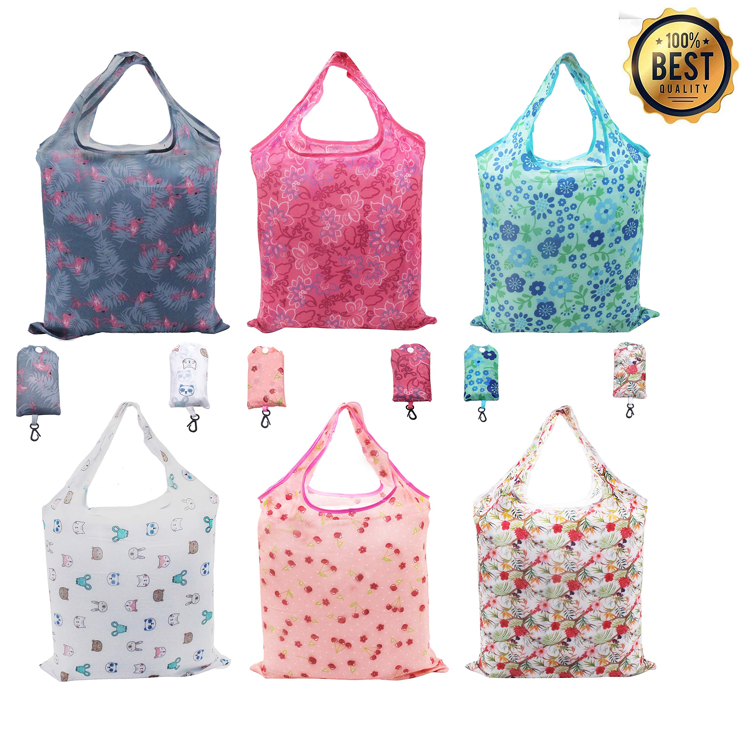 Reusable Tote Bags, Foldable Grocery Bags Reusable into Attached Pouch, Heavy Duty Rip Stop Polyester, Washable, Durable and Lightweight, Holds up to 33 lbs