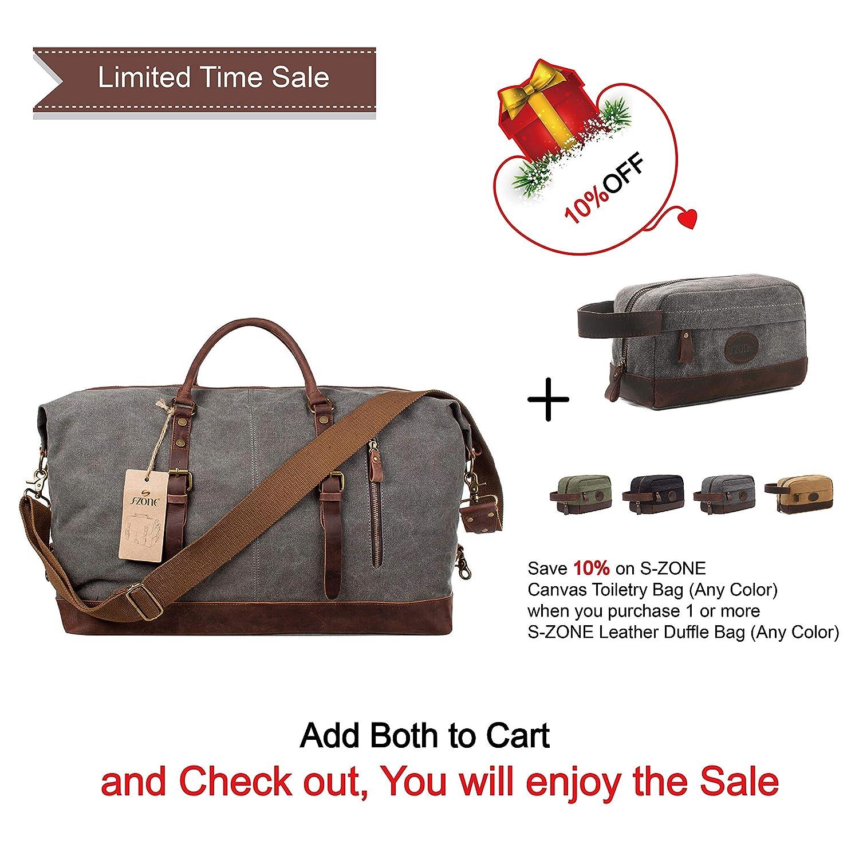 S-ZONE Oversized Canvas Leather Trim Duffel shoulder handbag Weekend Bag  (Gray)  Amazon.ca  Luggage   Bags bc5878afaeda3