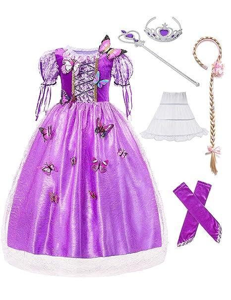 Amazon.com: Muabababy Vestido de niña Rapunzel Disfraz ...