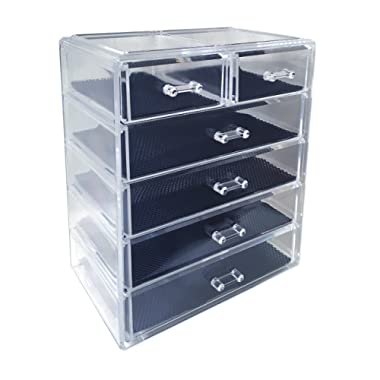 Sodynee Cosmetics Makeup and Jewelry Storage Organizer Case Display Boxes, 4 Large and 2 Small Drawers