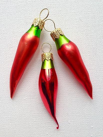 3 Pc Jalapeño Chili Pepper Glass Handmade Christmas Ornaments Hangers  Decoration Fruit Kitchen - Amazon.com: 3 Pc Jalapeño Chili Pepper Glass Handmade Christmas