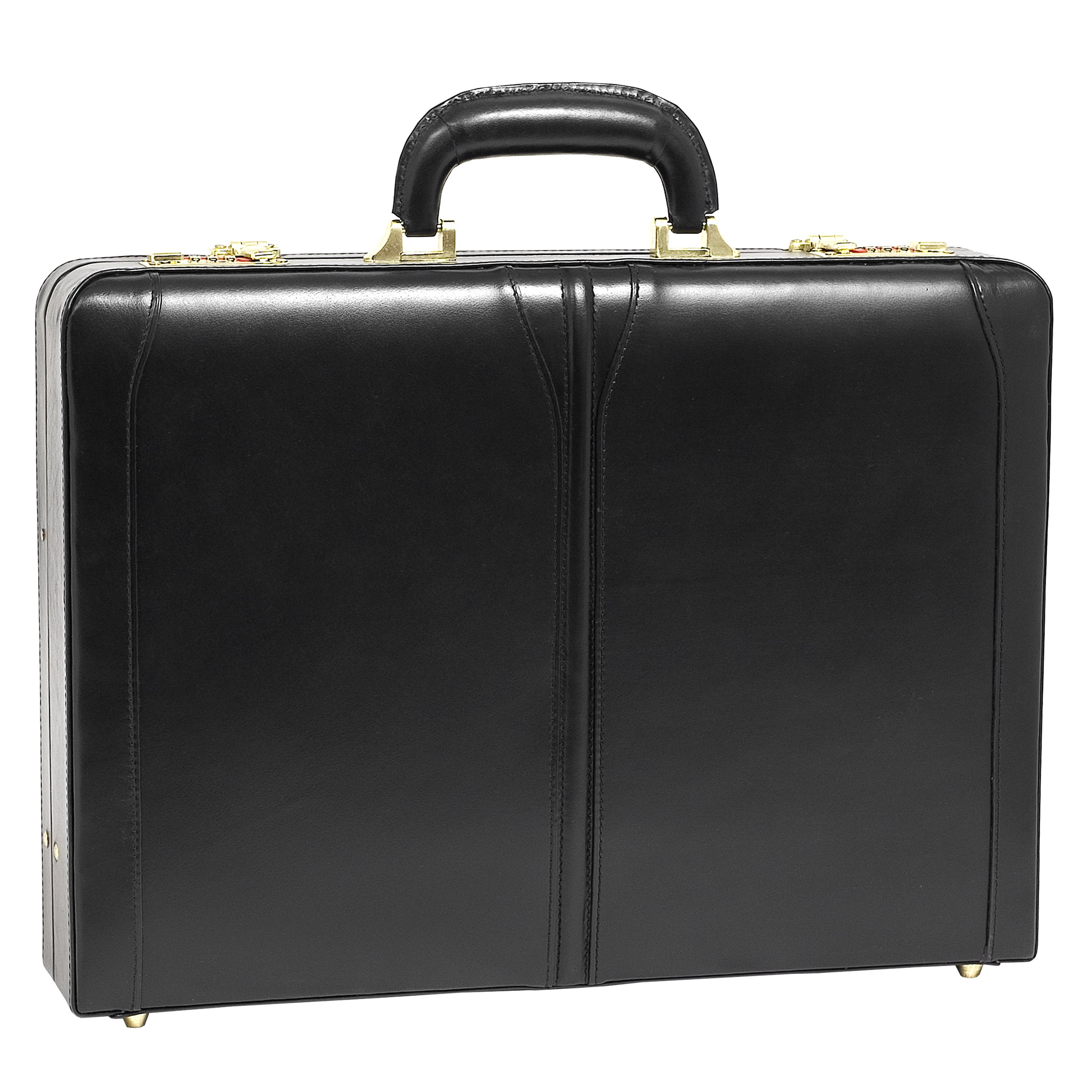McKleinUSA Lawson [Personalized Initials Embossing] Leather 3.5'' Attache Briefcase in Black