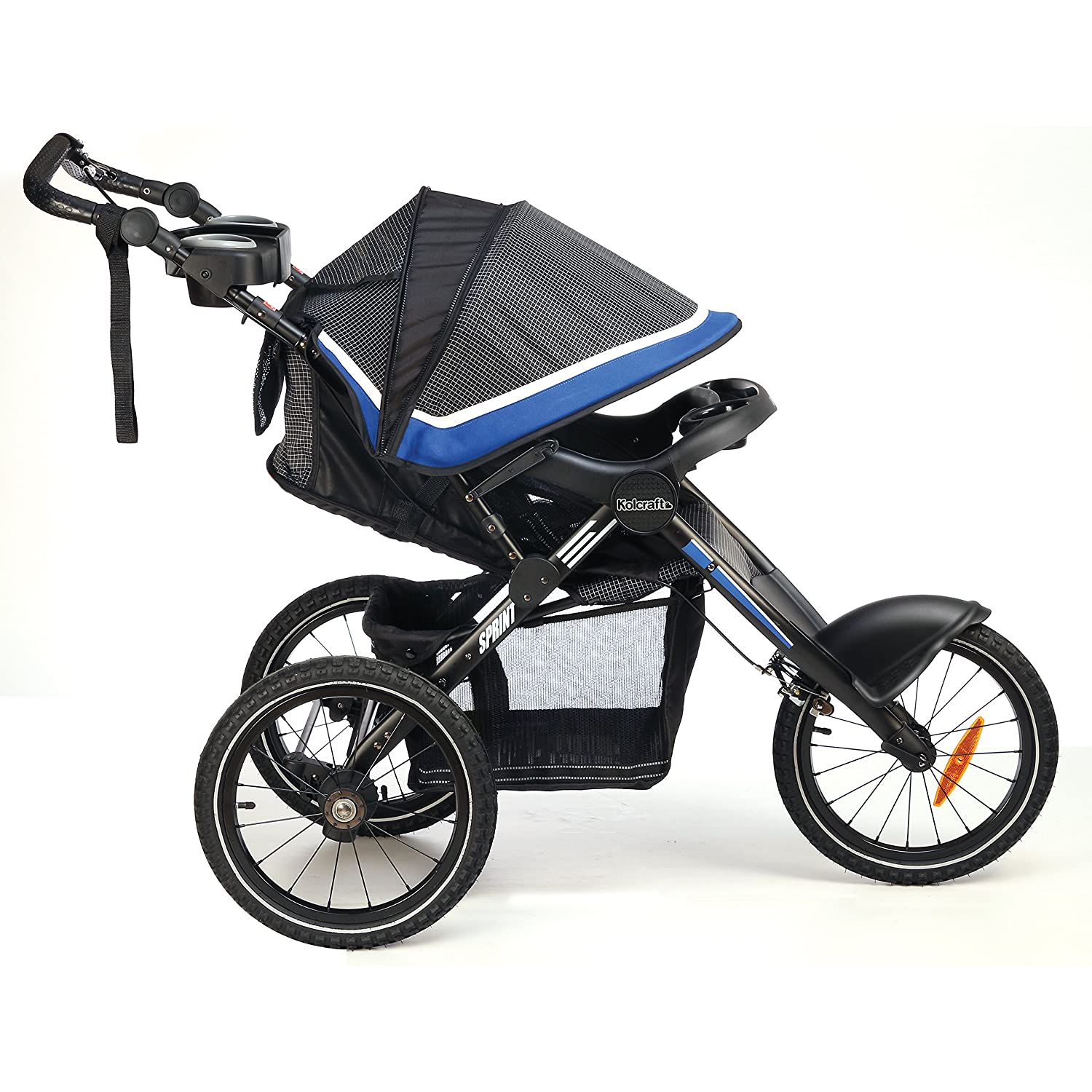 """Amazon Kolcraft Sprint Pro Jogging Stroller 16"""" Air Filled Fixed Front Wheel Lightweight Hand Brake 3 Seat Positions Sonic Blue Baby"""