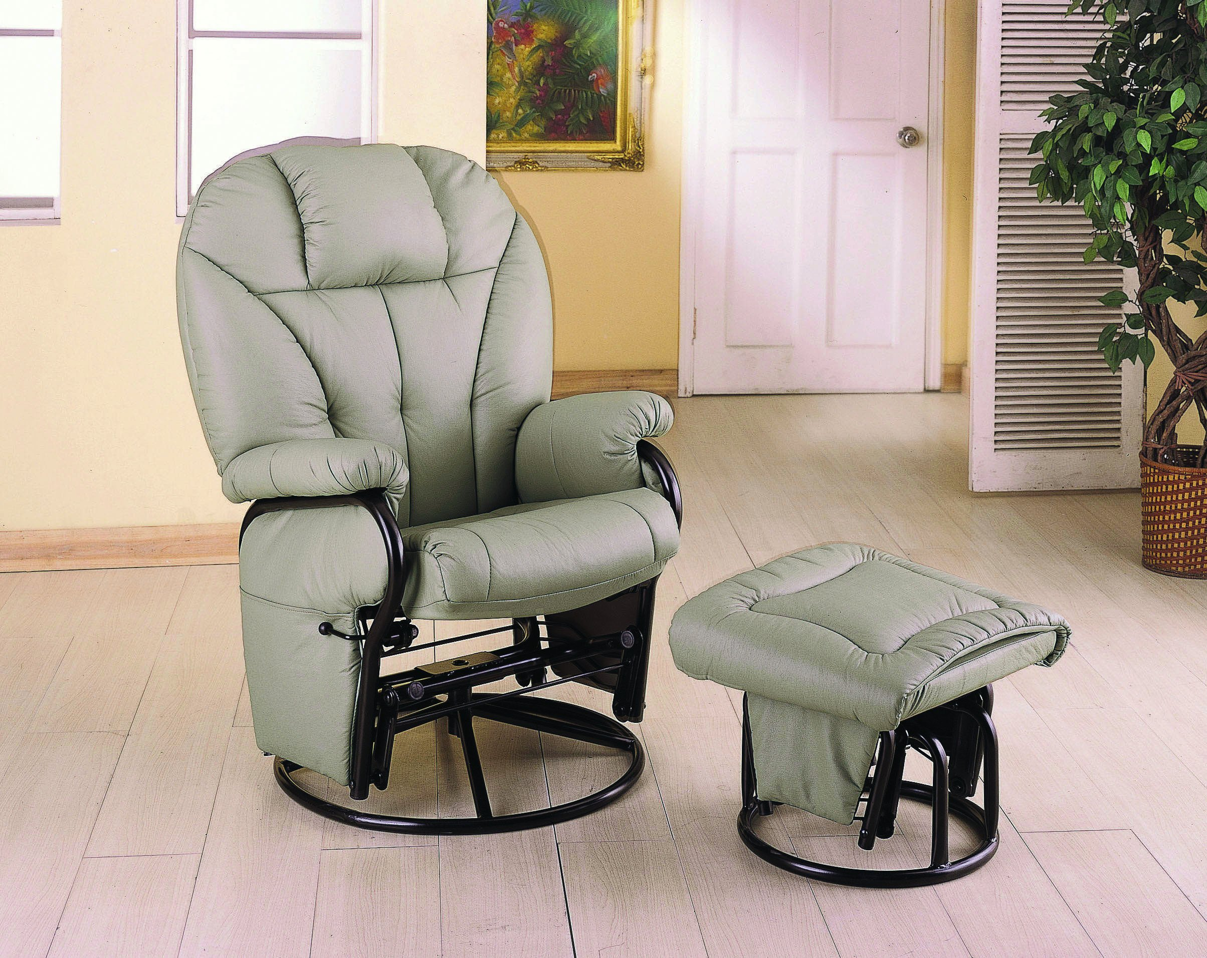 Leatherette Glider Recliner with Matching Ottoman Bone by Coaster Home Furnishings