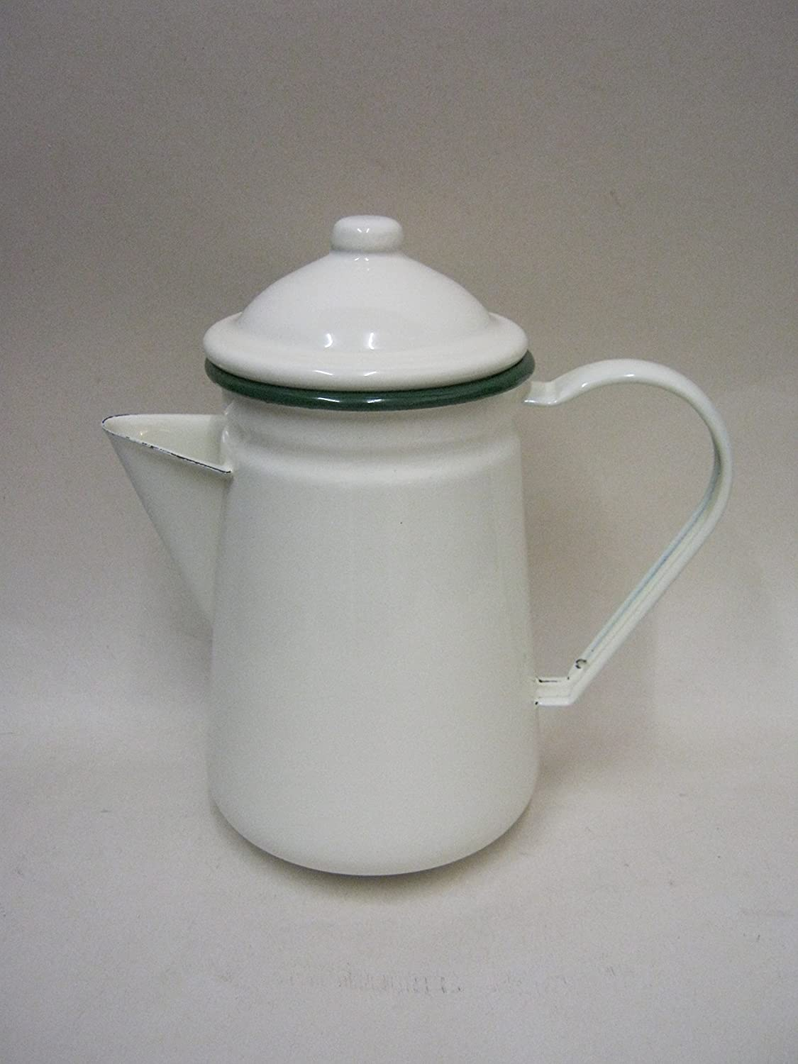 New Victor Cream Enamel Coffee Pot 1 Litre With Green Trim