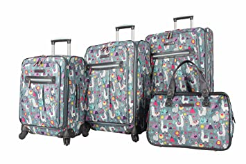bf824f296e03 Lily Bloom Luggage Set 4 Piece Suitcase Collection With Spinner Wheels For  Woman (Llama Mama)