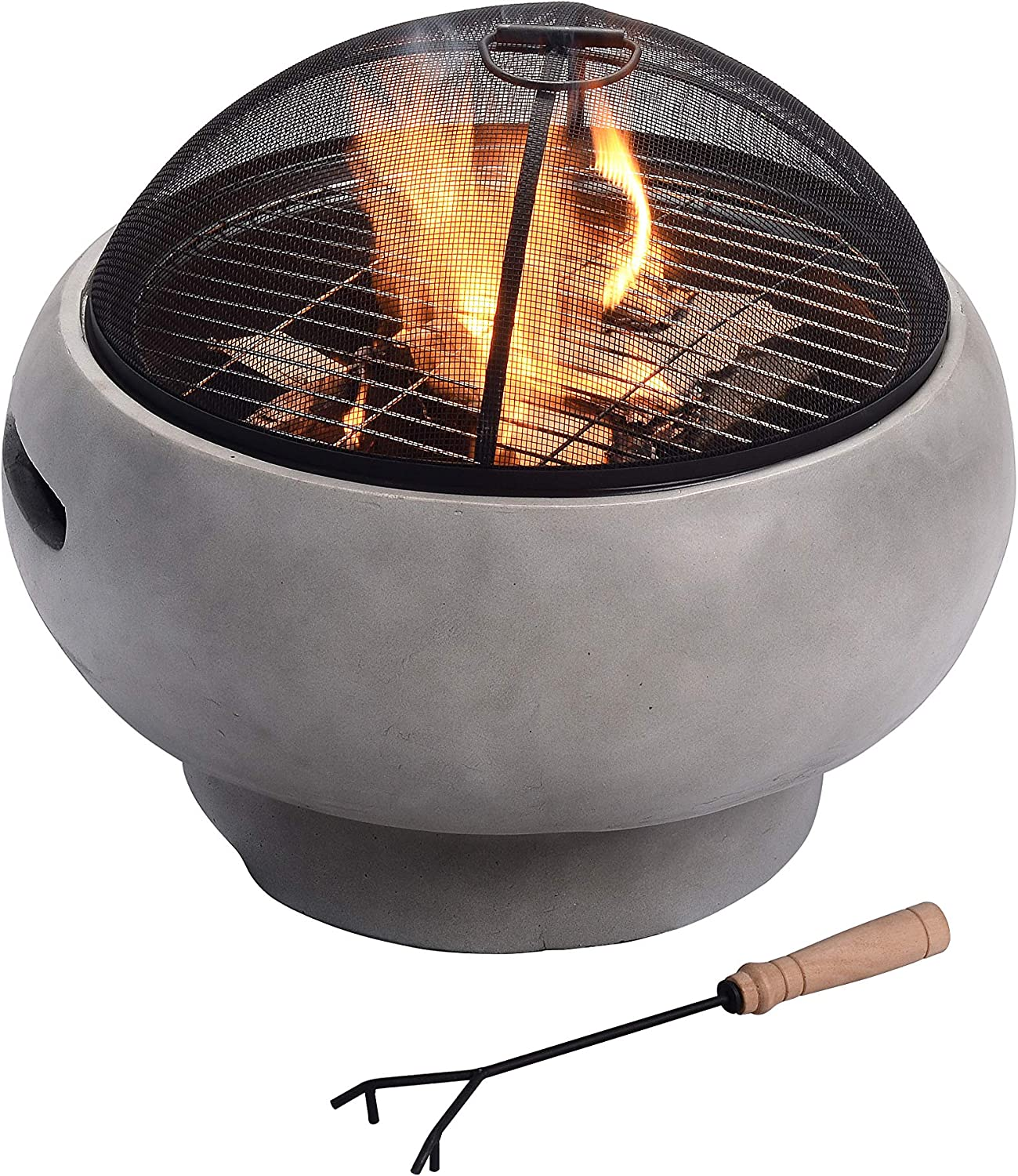 """Peaktop HR17501AB Concrete Round Charcoal and Wood Burning Fire Pit for Outdoor Patio Garden Backyard with Spark Screen, Fireplace Poker, Grate, and BBQ Grill, 22"""", Light Gray"""