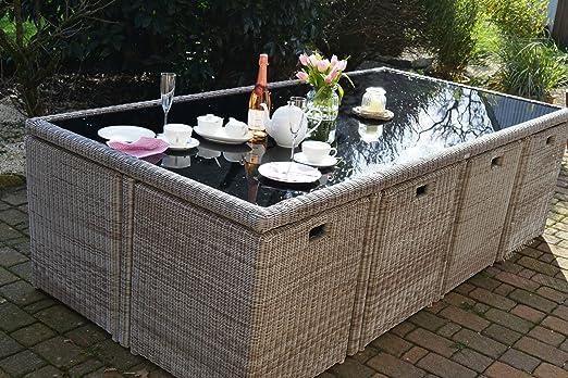 Bomey Toscana - Conjunto de muebles de jardín (ratán sintético, tamaño XXL, incluye: 1 mesa, 8 sillas y 4 taburetes), color gris y natural: Amazon.es: Jardín