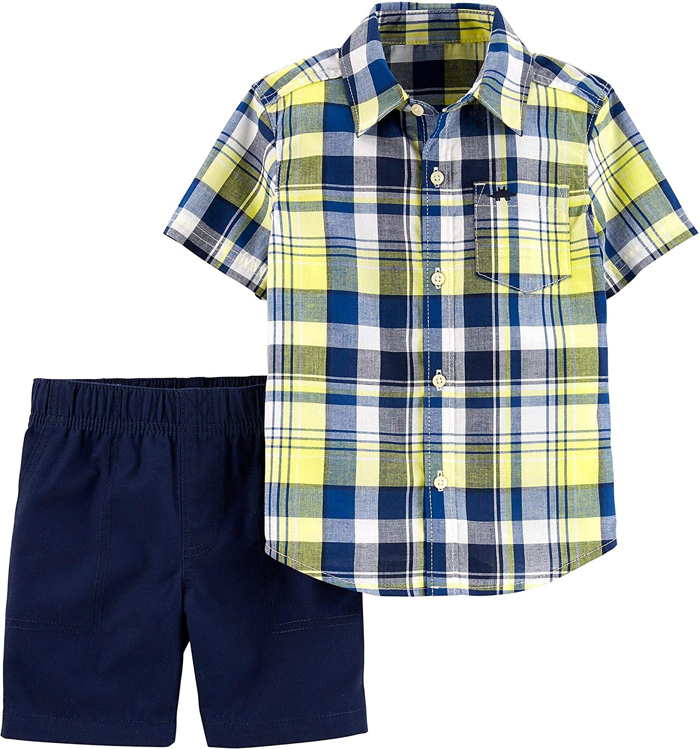 Carters Baby Boys Blue Plaid Flat Front Button Shorts